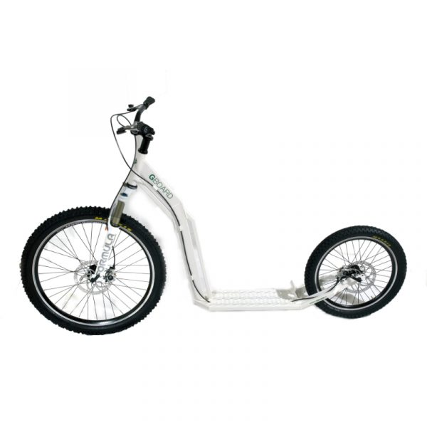 white kick scooter for dog scootering